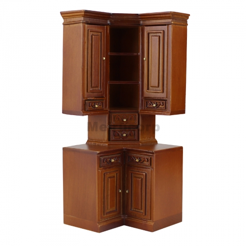 Fine 1/12 scale miniature furniture Modern classical Wooden Corner cabinet