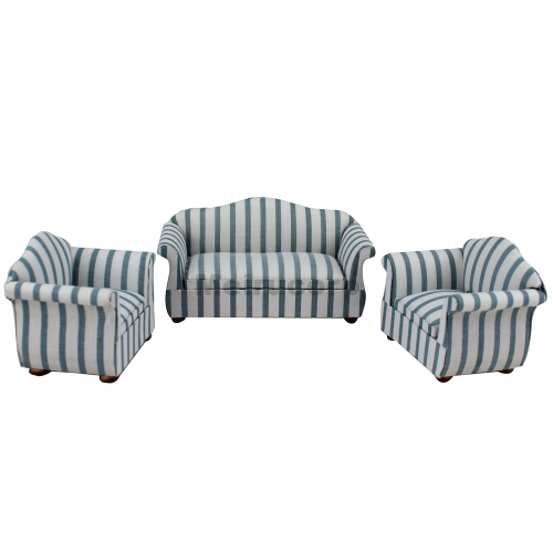 Dollhouse 1/12 Scale Miniature furniture Simple style stripe Living room sofa and chair 3pcset