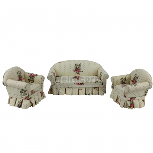Dollhouse 1/12 Scale Miniature furniture Living room fabric sofa and chair 3pcs set