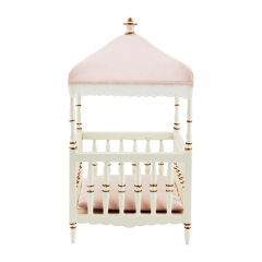 Meirucorp 1:12 Scale Dollshouse Miniature Furniture Exquisite White Wooden Hand Painted Baby Bed