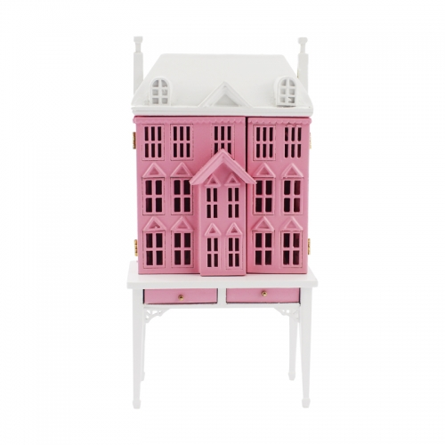 Meirucorp Pink 1/144 Scale Doll House Sits 1/12 Scale Miniature Table